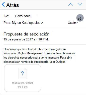 No puede ver los mensajes protegidos en la aplicación de correo de iOS si el administrador no ha permitido.