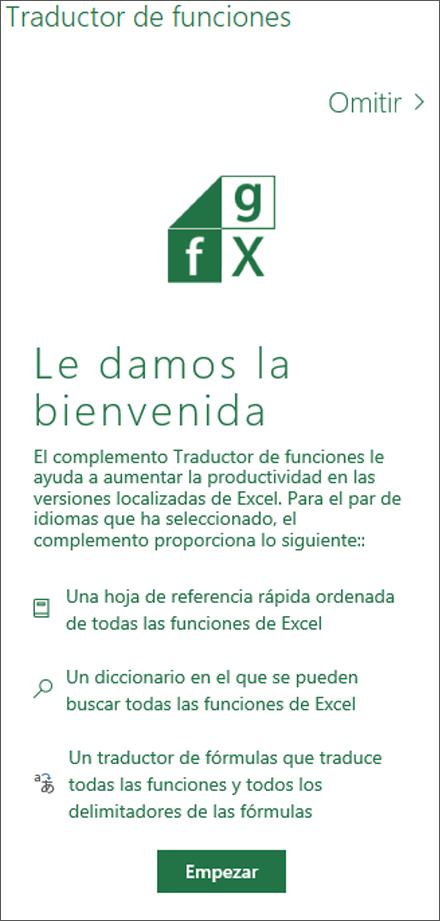 Panel de bienvenida del Traductor de funciones de Excel