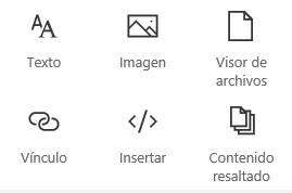 Captura de pantalla del menú Elemento web en SharePoint.