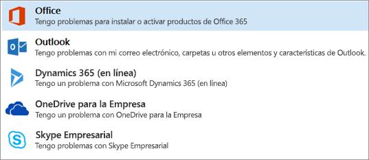 Se muestra la opción de Office resaltada en el Asistente de soporte y recuperación.