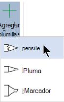 Puede dibujar en la entrada de lápiz con tres texturas diferentes: un lápiz, un lápiz o un marcador de resaltado