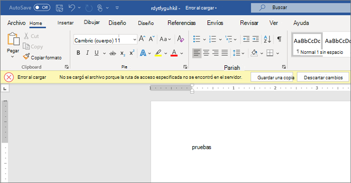 Captura de pantalla de error de carga al editar un documento en Word