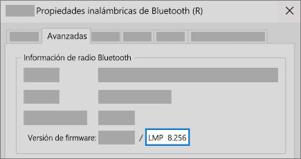 Campo de versión de LMP de Bluetooth de la pestaña Avanzadas del administrador de dispositivos.