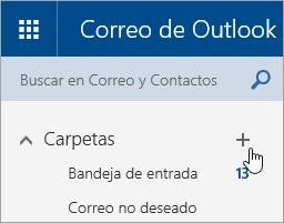 Captura de pantalla del botón Crear nueva carpeta en Outlook.com.