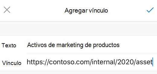 Cuadro de diálogo Agregar vínculo en Outlook para iOS.