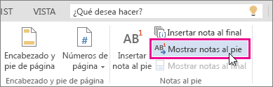 Botón Mostrar notas al pie en Word Online