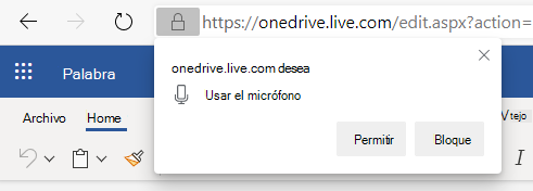 Captura de pantalla de habilitación de permisos de micrófono.