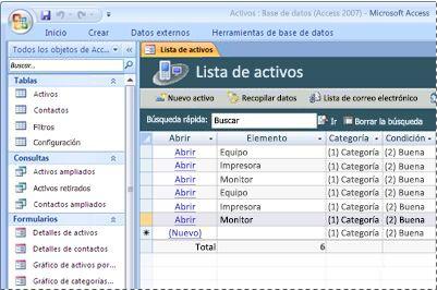 Uso de la plantilla de base de datos Activos