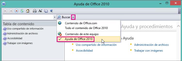 Ventana de Ayuda de Picture Manager que muestra la opción Ayuda 2010