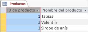 Fragmento de pantalla con tabla de productos