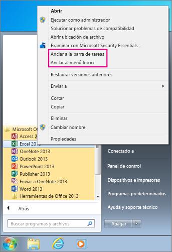 Anclar aplicación de Office al menú Inicio o a la barra de tareas en Windows 7