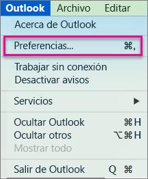 En el menú de Outlook, haga clic en Preferencias.