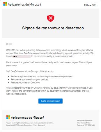 Captura de pantalla del correo electrónico de detección de ransomware de Microsoft