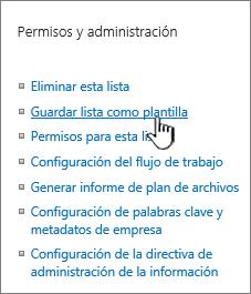 Sección de administración de permisos del menú Configuración