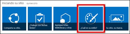 Sitio recién creado en SharePoint Online, en el que se muestra que se puede hacer clic en mosaicos para personalizar más el sitio