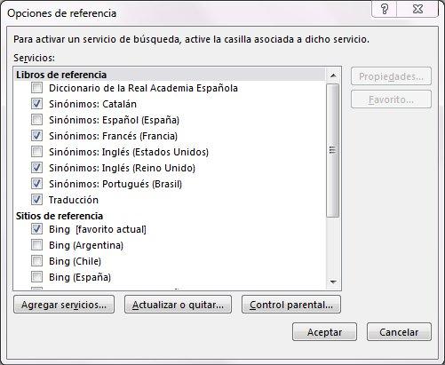 Captura de pantalla del cuadro Opciones de referencia