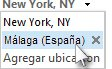 Seleccionar una ciudad en la lista de ubicaciones de la barra de meteorología