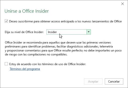 Cuadro de diálogo Unirse a Office Insider con la opción de nivel Insider