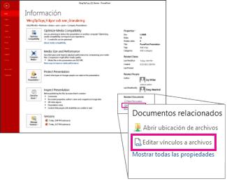 Editar vínculos a archivos