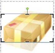 Imagen prediseñada que muestra el marco de recorte y los controladores en Publisher 2010