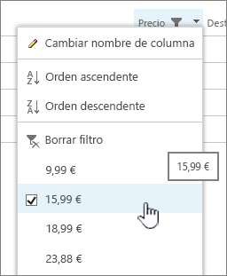 Haga clic en el encabezado de columna y elija el valor por el cual desea filtrar.
