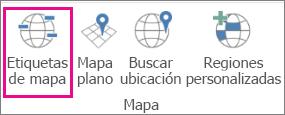 Opción Etiquetas de mapa en mapas 3D