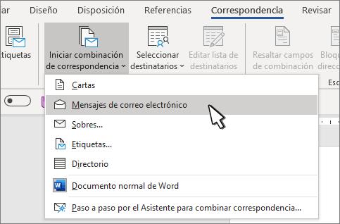 Iniciar combinación de correspondencia con mensajes de correo electrónico seleccionados