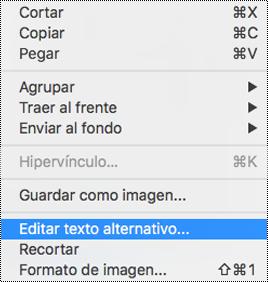 Opción de edición de Texto alternativo en el menú contextual en PowerPoint para Mac