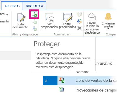Desproteger archivo