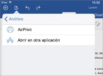 El cuadro de diálogo Imprimir de Word para iOS le permite imprimir el documento o abrirlo en otra aplicación.