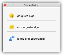 """Captura de pantalla del cuadro de diálogo Comentarios que muestra botones que dicen """"Me gusta algo"""", """"No me gusta algo"""" y """"Tengo una sugerencia""""."""