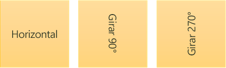 Ejemplos de dirección del texto: horizontal y girado