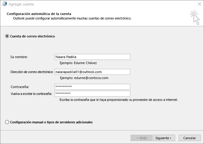Usar la Configuración automática de la cuenta para agregar una cuenta de correo electrónico como parte de un perfil recién creado para Outlook