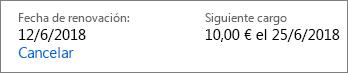 Vínculo para cancelar una suscripción a Office 365 Hogar.