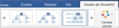 Haga clic en un tipo de diseño de SmartArt