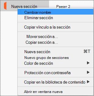 Menú contextual Sección con la sección Cambiar nombre resaltada.