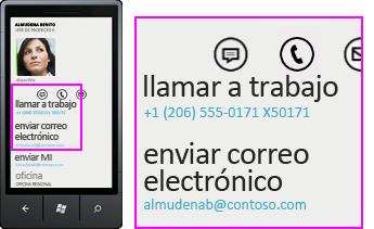 Captura de pantalla en la que se muestra el número de teléfono para una llamada entrante y el botón de respuesta en un cliente móvil de Lync