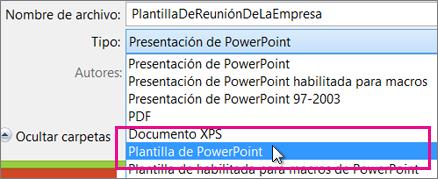 Guardar como plantilla de PowerPoint