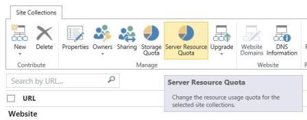 Cuota de recursos de servidor en el grupo Administrar