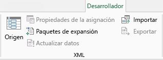 Comandos XML en la pestaña Desarrollador