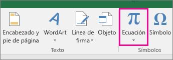 Botón Ecuación en la cinta de opciones de Excel 2016