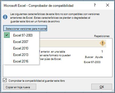 Cuadro de diálogo comprobador de compatibilidad de Excel