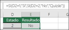 """Usar """""""" para comprobar si una celda está en blanco: la fórmula de la celda E3 es =SI(D3="""""""";""""En blanco"""";""""No está en blanco"""")"""