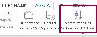 Ordene las carpetas alfabéticamente haciendo clic en Mostrar todas las carpetas de la A a la Z.