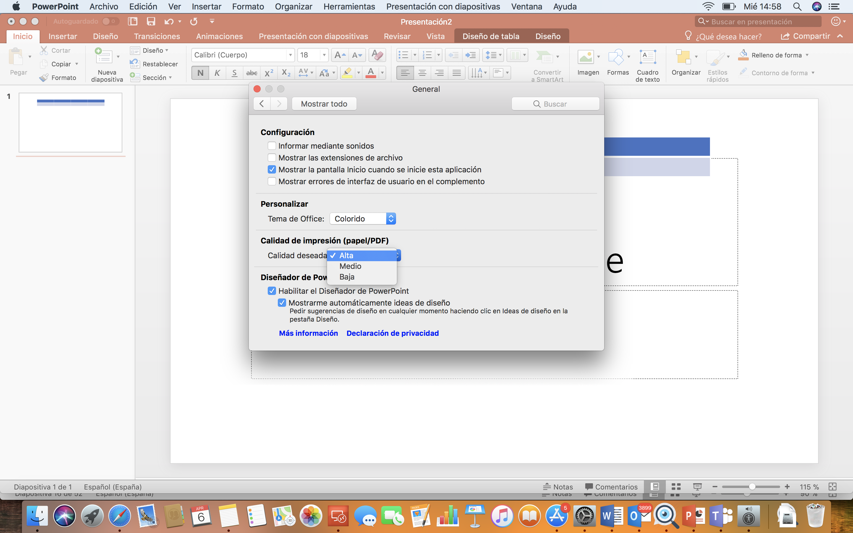 Captura de pantalla de la configuración de la calidad de imagen