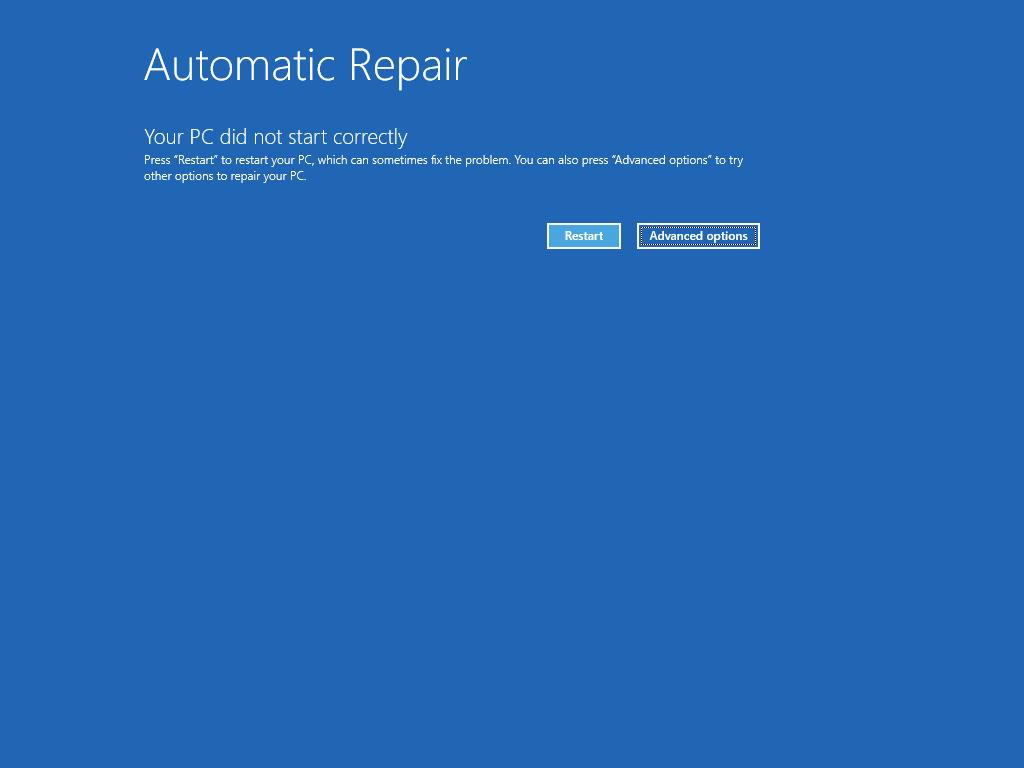 """Muestra la pantalla Reparación automática, con el botón """"Opciones avanzadas"""" resaltado."""