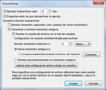 Cuadro de diálogo de configuración de Autoarchivar