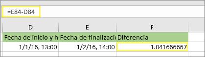 =E84-D84 y resultado de 1,041666667