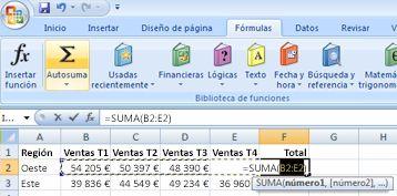 Uso de Autosuma para sumar rápidamente una fila de datos