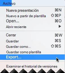 En el menú archivo, seleccione Exportar